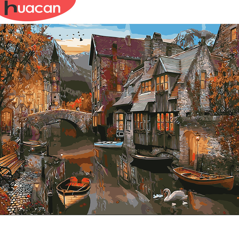HUACAN Pictures By Numbers Venice Scenery DIY Kits Drawing Canvas HandPainted Oil Painting By Numbers Water City Landscape