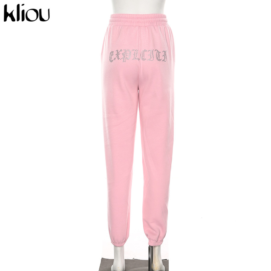 Kliou Mid Waist Knitted Pencil Pants Women Trousers Drawstring Pants Pockets Letter Appliques Sweatpants Pantalon Femme 2019