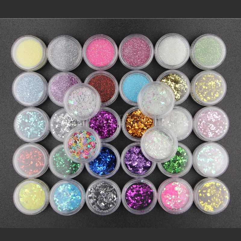 34 Colors Resin Pigment Mica Powder Glitters Sequains Nail Art Jewelry Making Pigment