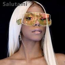 купить Hollow Out One Piece Rivet Frame Sunglasses For Women Luxury Brand Sun Glasses Mirror Shield Oversize Men Cool Eyewear Ins Hot дешево
