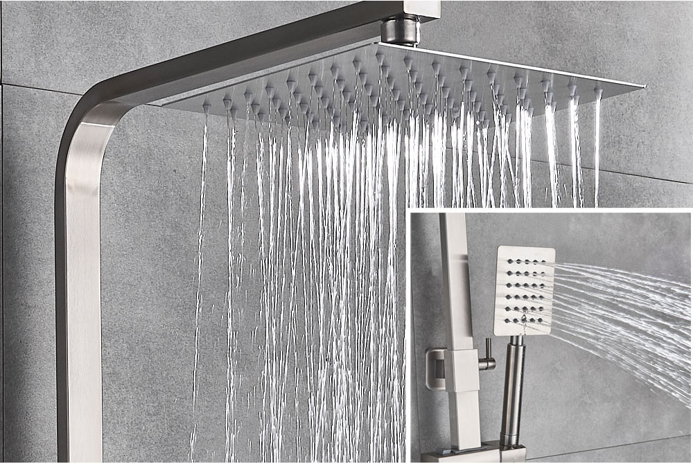Haeb6a1fc03724ef3a323025bd0714ec1w POIQIHY Black Bathroom Shower Faucet Set Wall Mount Black 8''Rainfall Shower Head With Handheld Sprayer Bathtub Shower Mixer