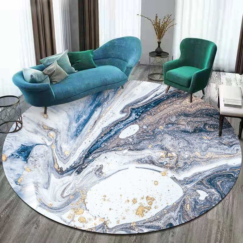 Abstract Marble Round Carpet And Rug Living Room Sofa Table Blue White Landscape Area Rugs Bedroom Bedside Non Slip Floor Mats Carpet Aliexpress