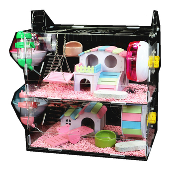 Toy blind date cage single layer double laye three stories basic hamster supplies gold silk bear super large villa