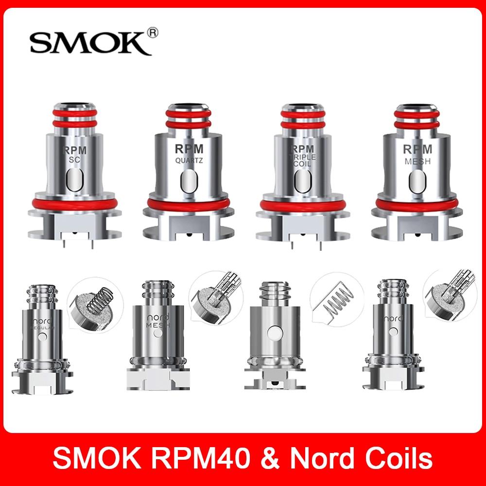 Original SMOK RPM & Nord Coils RPM RBA Mesh Triple Quartz SC MTL Nord Mesh Coils Heads For E Cig RPM40 & Fetch Mini Pod Vape Kit