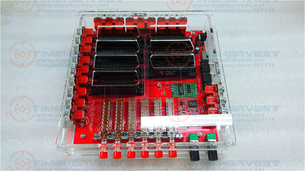 New Acrylic Case Mini SCART Distributor Converter Video 6 INPUT 1 OUTPUT Auto Switcher EUR SCART Divider Converting Board Device