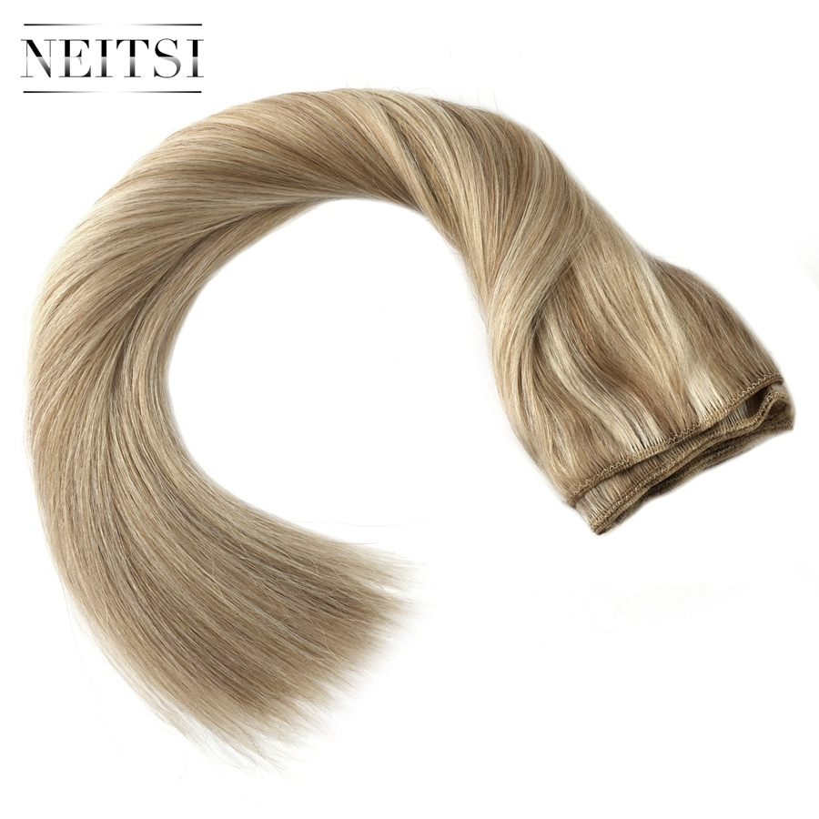 "Neitsi Straight Double Drawn Remy Human Hair Weave Extensions 20"" 50cm 100g/pc Hair Weft Bundles Ombre Colored"