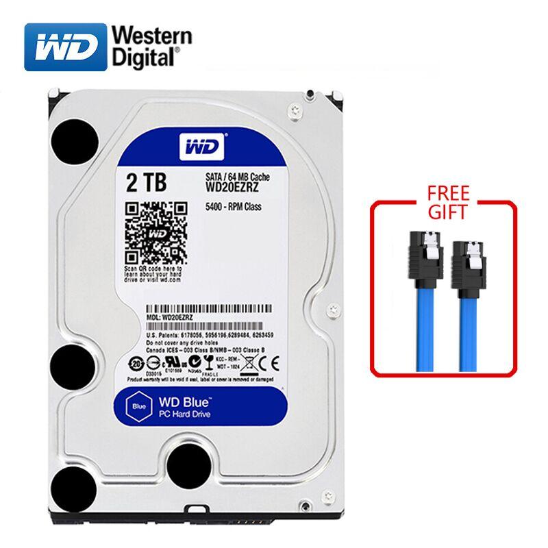 "WD BLUE marque 2 to disque dur interne 3.5 ""7200 tr/min 64 mo cache SATA3 HDD 6 Gb/s 2000GB disque dur HD disque dur pour ordinateurs de bureau"