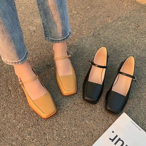 Women Spring Summer Leather Pumps Square Toe Marry Jeans Shoes Med Square Heel Buckle Leather Shoes Shallow Sandals 5 cm
