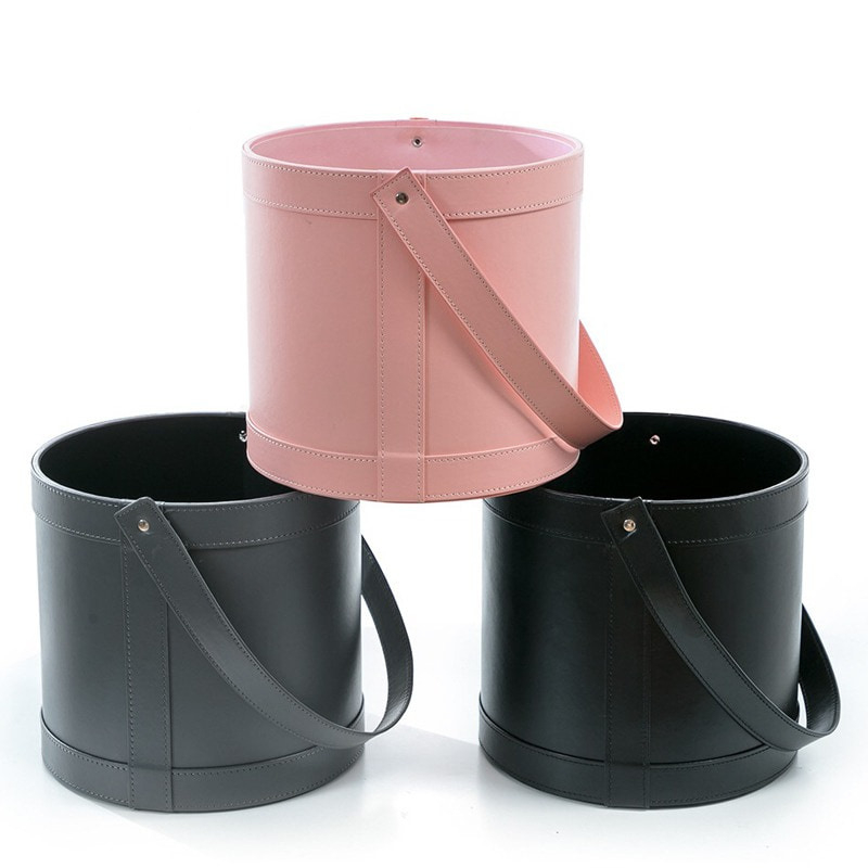 Florist Hat Boxes Leather Handheld Round Box Candy Boxes Gift Box Packaging Boxes For Gifts Christmas Flowers Gifts Living Vase