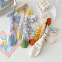 Mesh Lace Flower Short Socks Women Ultra-thin Transparenrt Crystal Silk Socks Breathable Girls Women Sweet Cute Ankle Socks