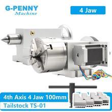 4 Jaw 100 มม.4thแกน + Tailstock CNCหัวแบ่งแกนหมุน/แกนKitสำหรับMini CNC router/แกะสลักไม้แกะสลัก