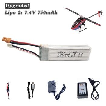 WLtoys K130 batería Lipo 2S 7,4 V 750mAh Lipo juegos de cargador de batería XT30 enchufe 7,4 v Drone batería RC partes de helicóptero Accesorios