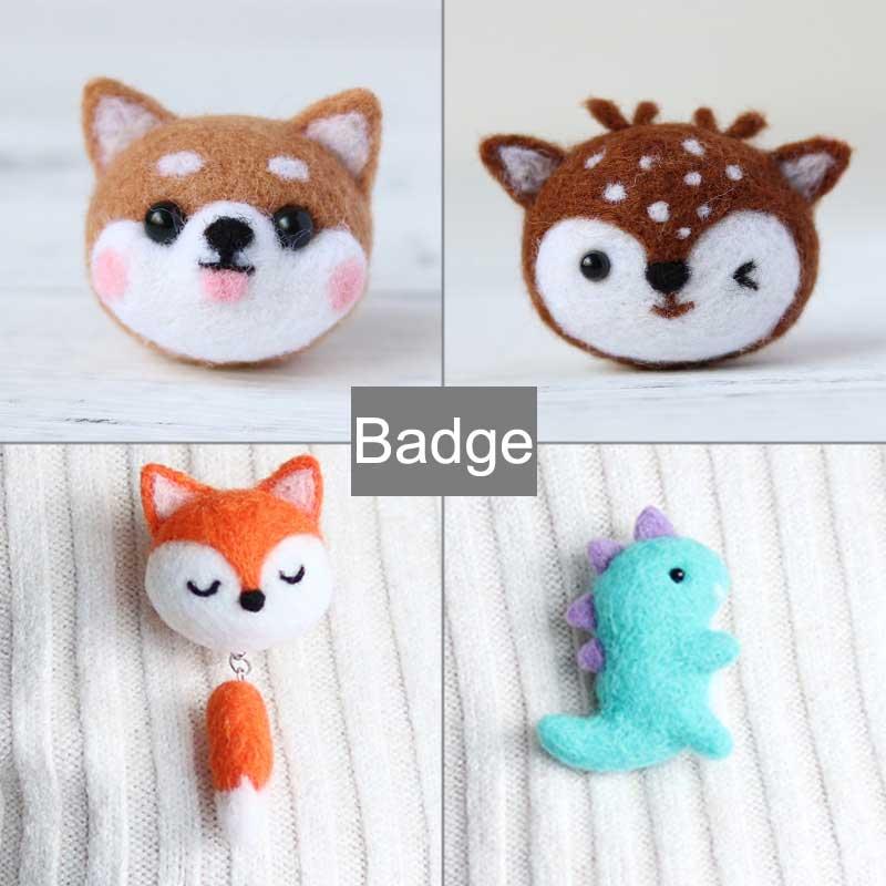 2020 DIY Handmade Fashion Wool Felting Animal Fox Deer Rabbit Dog Cute Badge Brooch Collar Pin Felting For Scarf Hat Decoration