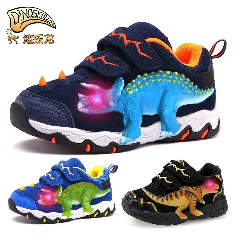 DINOSKULLS 3-10 Boys Autumn Shoes Dinosaur LED Glowing Sneakers 2019 Children's Sports Shoes 3D T-rex Kids Genuine Leather Shoes