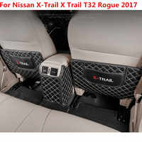 Car armrest box Back row anti kicking pad holster Artificial Leather For Nissan X-Trail X Trail T32 Rogue 2017
