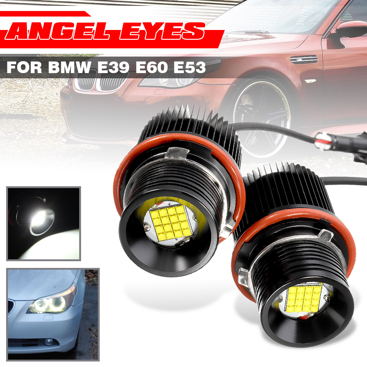 10W Angel Eye Halo Ring LED Lights Bulbs Angle Eye For BMW E39//E60//E53//X5//E83//X3