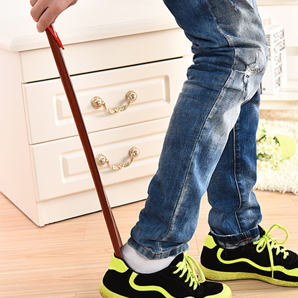 Stick Home Shoe Horn Portable Red Long Handle Useful Wooden Lifter Flexible Practical Hanging Loop Durable 55cm