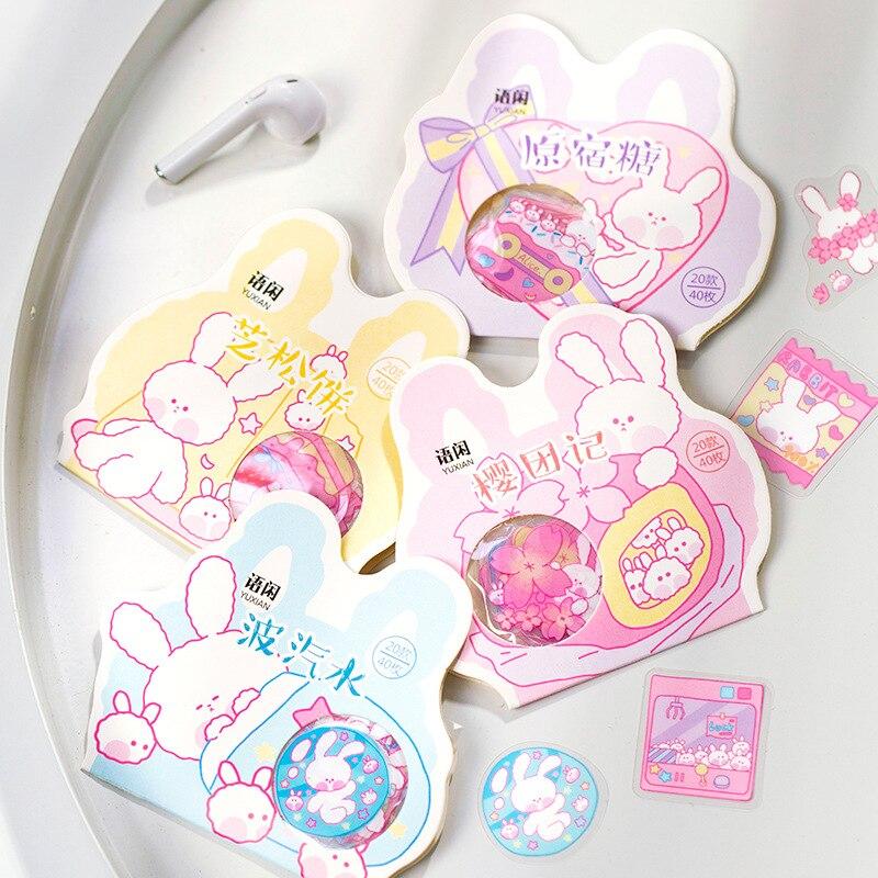 40 Pcs /Bag Lovely Candy Rabbit Bullet Journal Stickers DIY Phone Hand Account Decor