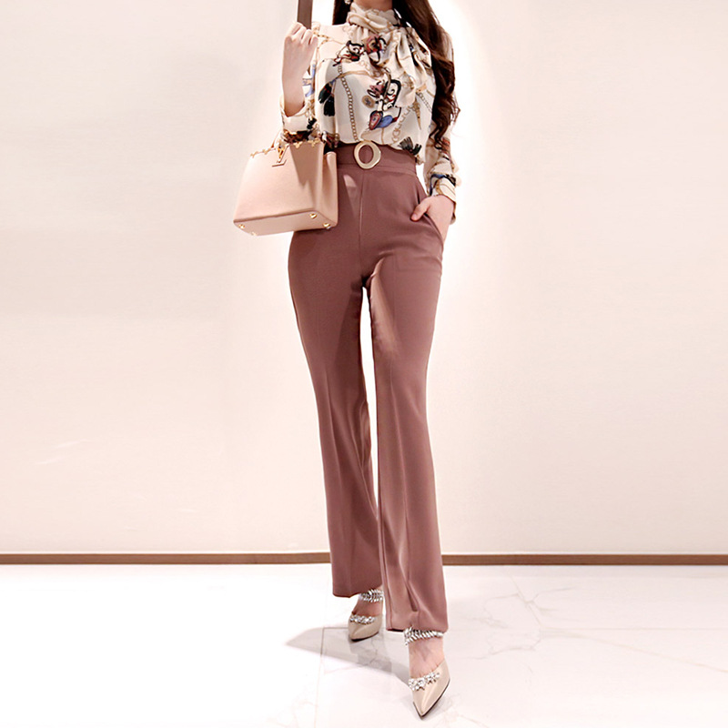 WOMEN'S Dress 2019 Autumn Korean-style Elegant Scarf Collar Print Shirt High-waisted Slimming Trousers Set Sell