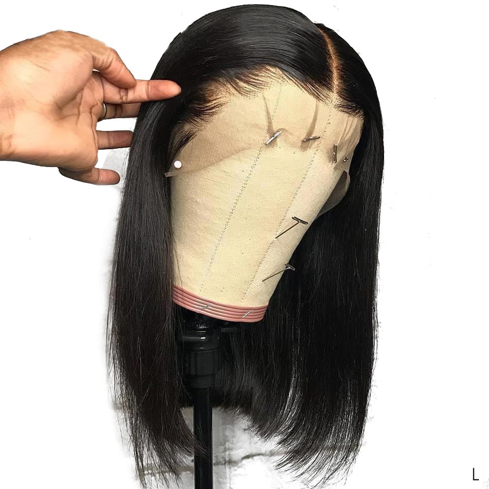 13x4 Lace Front Human Hair Wigs Brazilian Straight Short Bob Wig Pre Plucked With Baby Hair Remy Lace Wigs For Black Women 150%