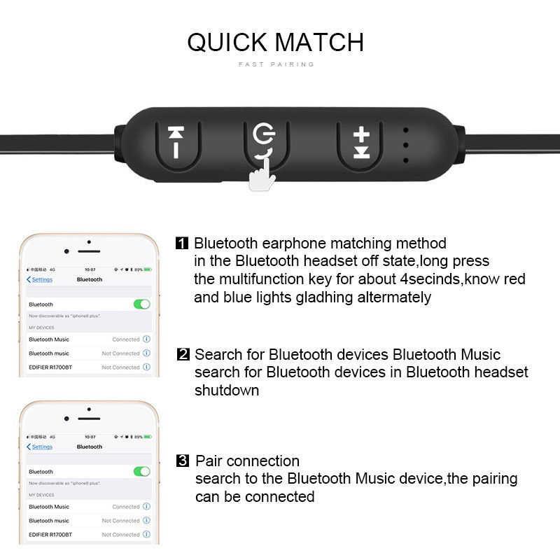 المغناطيسي بلوتوث سماعات سماعات لاسلكية 3D ستيريو الرياضة سماعات الأذن حر اليدين في الأذن سماعة رأس مزودة بميكروفون ل أبل فون Xiaomi