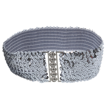 Silver New Lady Fashion Sequins Elastic Stretch Shinning Waist Band Casual Belt