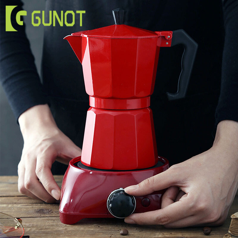 GUNOT Aluminum Moka Pot Maker Matte Textured Coffee Pot Heatable Italian Coffee Maker Espresso Kettle Percolator Kitchen Tools