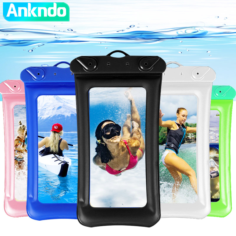 ANKNDO Universal Mobile Phone Waterproof Bag Phone Case Touch Screen Swimming Rafting Water Proof Case for Iphone Xiaomi Samsung
