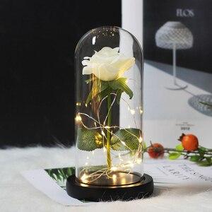 Image 3 - De Eeuwige Leven van Crystal Bloemen en Roze Beast LED Batterij Lamp Valentijnsdag Verjaardagscadeau Moeder Thuis decoratie