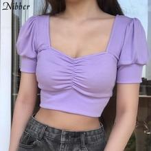 Nibber-Tops cortos de punto acanalado para mujer, camisetas sexys de corte bajo para mujer, ropa de calle de manga corta en rojo y negro, tops de oficina para mujer 2020