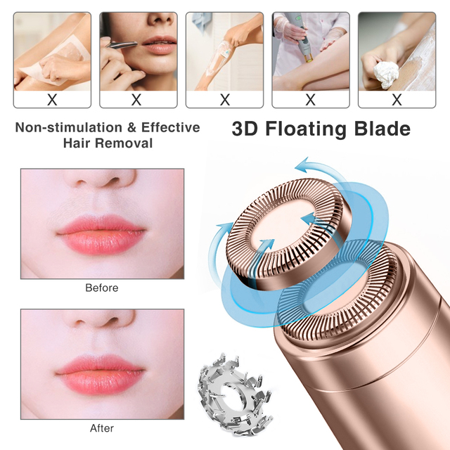 Electric Epilator Women Painless Hair Removal Female Upper Lip Cheeks Shaver Face Hair Remover Bikini Shaver Lipstick Style