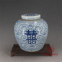 Qing Dynasty Blue and White Peony Wedding Pot Flower Vase Antique Vase Decoration Hand painted Porcelain Collection Home Decor