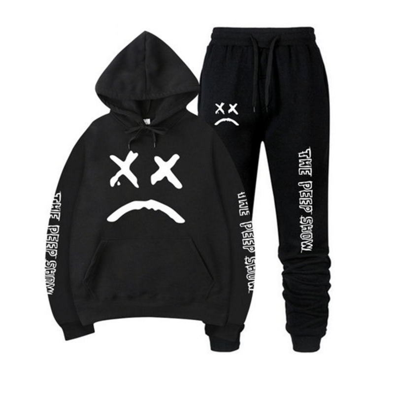 RIP Lil Peep Hoodies Sweatshirt + Sweatpants Suits Men Women Hip Hop Lil Peep Cry Baby Pullover Two Piece Set Sudaderas