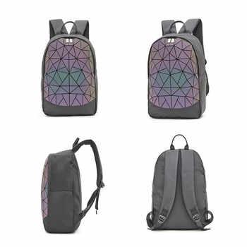 Big Set Backpack Women Geometric Luminous Shoulder Bag For Teenage Girls School Backpack Female All-Purpose Travel Bag Sac A Dos