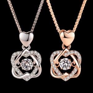 Модное романтическое ожерелье с подвеской в виде цветка с двойным сердцем и цирконом, розовое золото/белое ожерелье для женщин, ювелирные и...