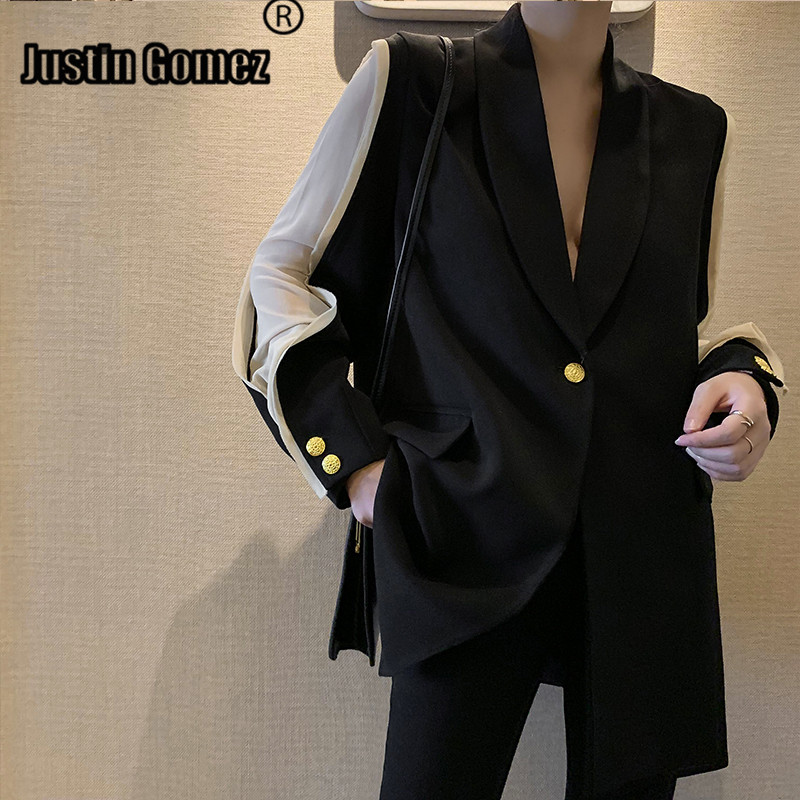 Sleeve Patchwork OL Blazer With Belt Single Button Professional Women Blazers And Jackets Temperament Warm Jackets For Women