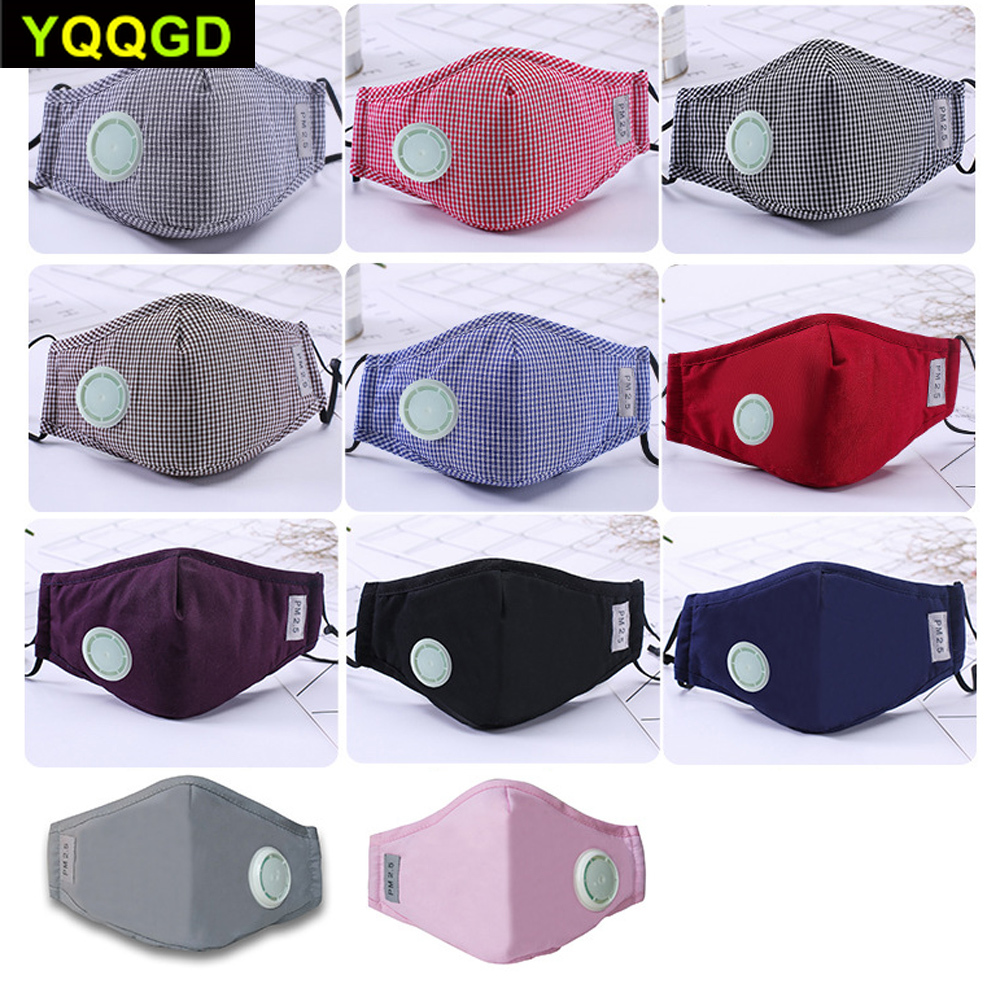 1Pcs Fashion Unisex Cotton Breath Valve PM2.5 Mouth Mask Anti-Dust Anti Pollution Mask Cloth Activated carbon filter respirator 1