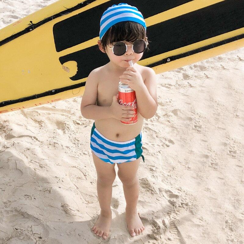 2019 Spa Resort BOY'S Medium-small Children Swim Briefs Cute Mermaid Applique Bathing Suit Male Baby Cartoon