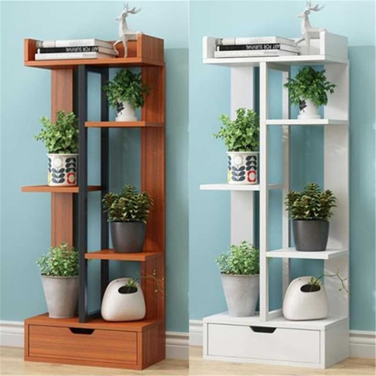 Modern Decorative Wood Plant Rack Stand Flower Shelf Multi-Layer With Drawer Indoor Living Room Bonsai Display Shelf Plant Stand