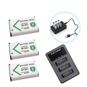 New 1350mAh NP-BX1 NP BX1 Battery for Sony DSC RX1 RX100 M3 M2 RX1R GWP88 PJ240E AS15 WX350 WX300 HX300 HX400 + USB Charger image