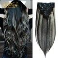 Дорин 120 140G машина Remy эффектом деграде (переход от темного к Цвет серый настоящие человеческие волосы на клипсах для наращивания волос для п...