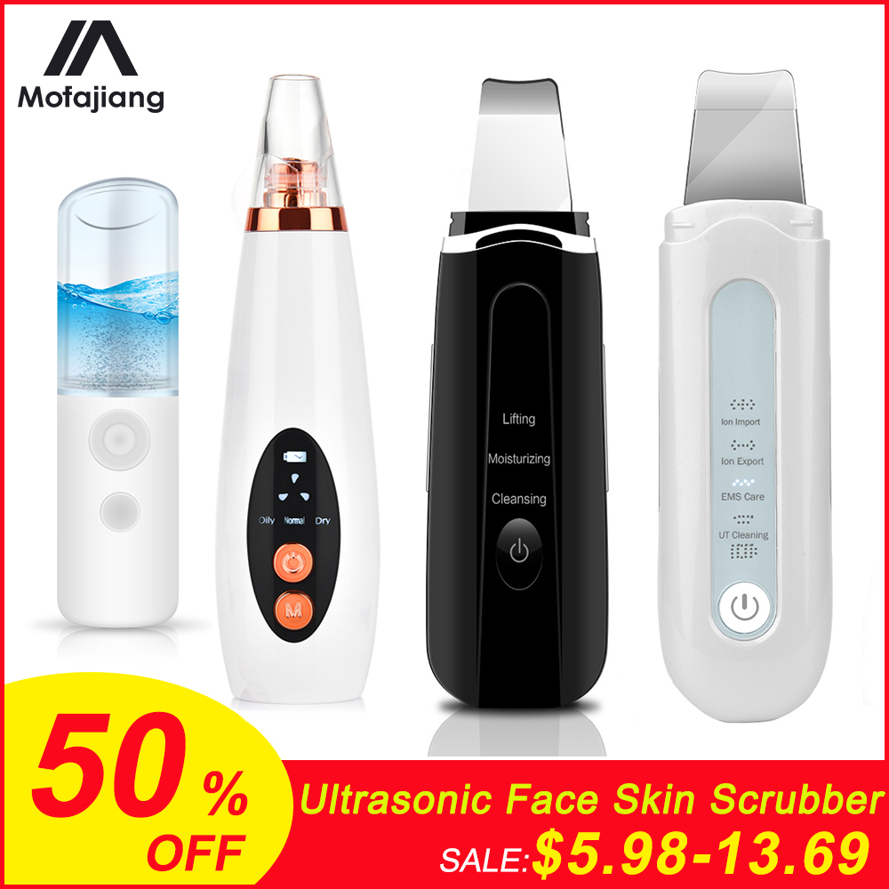 Ultrasonic Skin Remove Blackhead Scrubber Face Vibrator Massage Ultrasound Ion Deep Facial Cleansing Machine Wrinkle Pore Clean