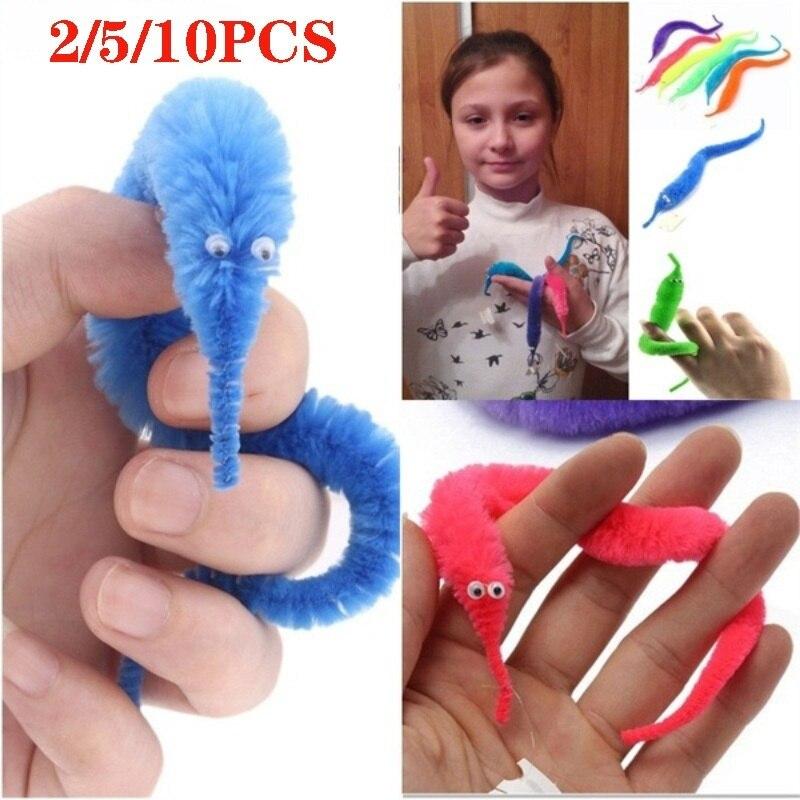 2/5/10PCS Magical Worm Magic Trick Twisty Plush Wiggle Stuffed Animals Street Toy