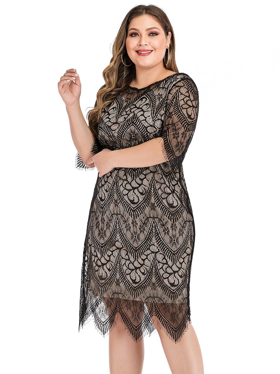 Elegant O Neck Half Sleeve Lace Floral Midi Dress Plus Size 4