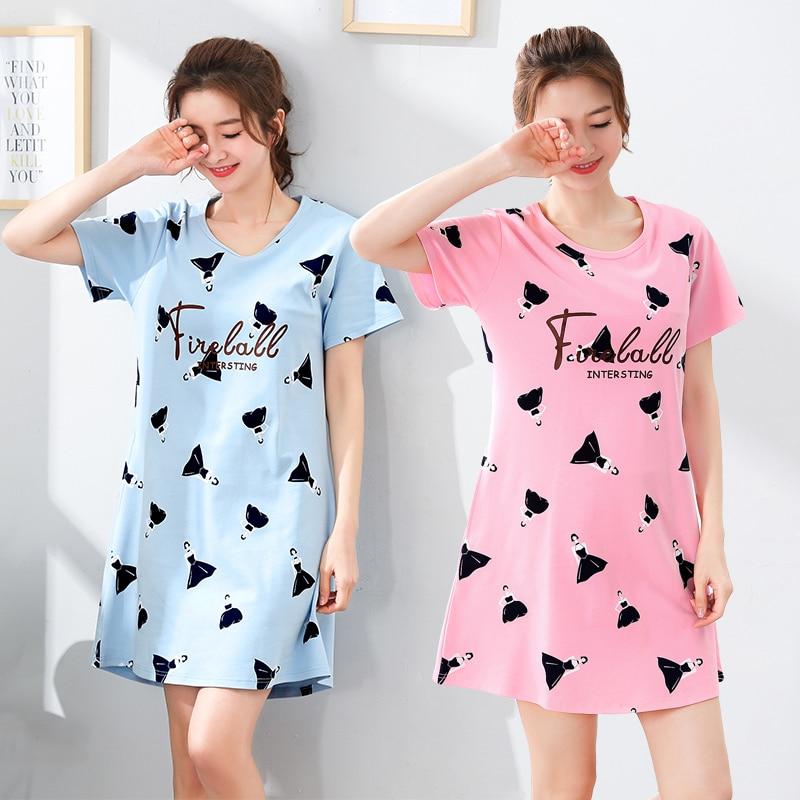 100% Cotton Women Sleepshirts Nightgowns Cartoon Night Dress Fashion Girls Nighty Sleepwear Ladies Nightwear Summer Homewear 1