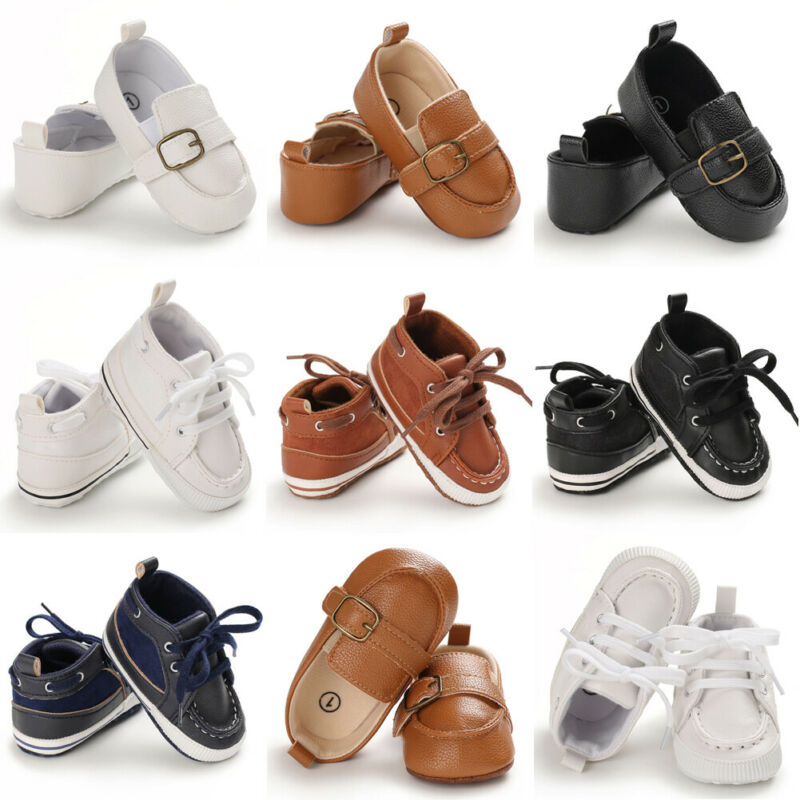 Baby Kids Leather Soft Crib Shoes Boy Girl Infant Fashion Prewalkers Shoes 0-18M