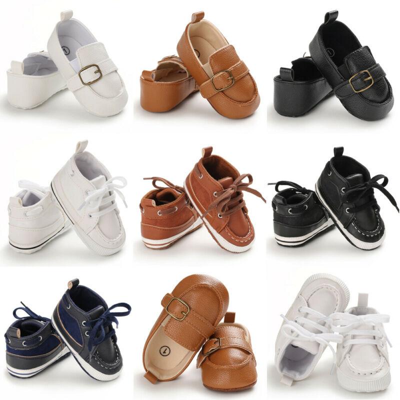 Baby Kids Leather Soft Crib Shoes Boy Girl Infant Fashion Prewalkers Shoes 0-18M