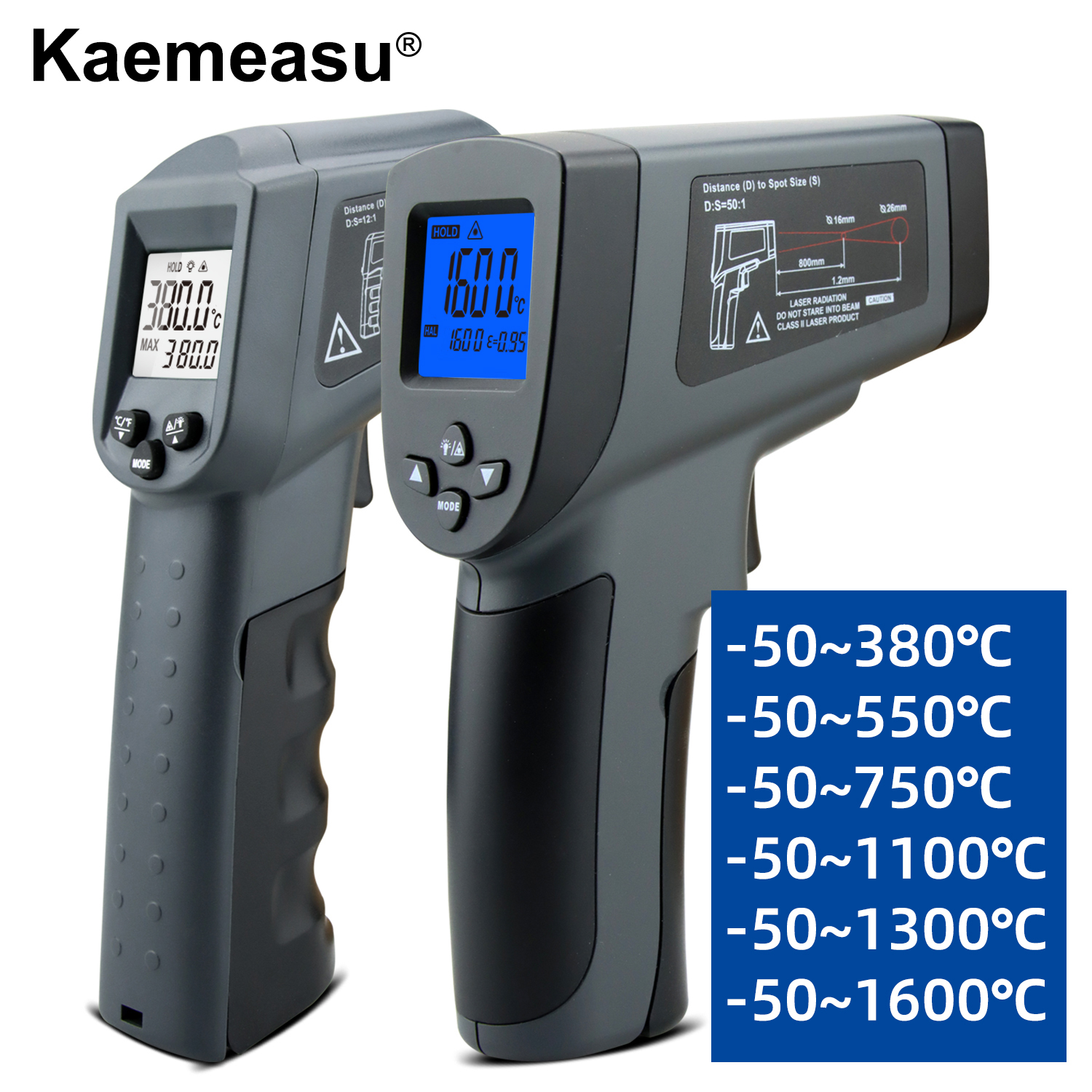 Kaemeasu Digitale Infrarood Thermometer -50 ~ 1600 Meetbereik, Non-contact, Veiligheid, Koken, industriële Elektronische Thermometer Pistool 1