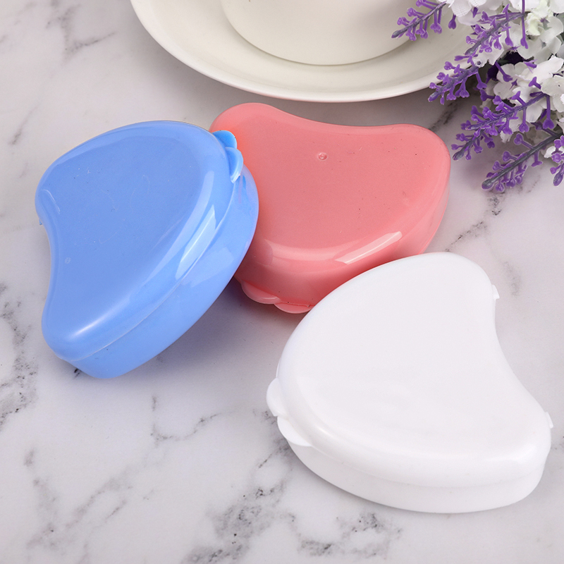 Heart Shaped Case Denture Box Holder Dental False Teeth Storage Case Denture Bath Boxes Cases Appliance Rinsing Dental Tool