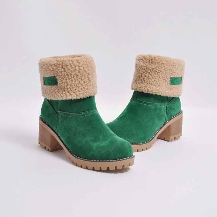 Lzj 2019 Sepatu Boot Wanita Baru Musim Dingin Luar Ruangan Hangat dan Nyaman Bulu Sepatu Wanita Sepatu Bot Salju Tebal Tumit Sepatu Fashion semata Kaki